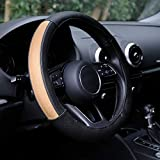 Automix Fundas para volante de coche, de piel, suaves, antideslizantes y sin olor, tamaño universal, 38-40 cm, color negro y beige
