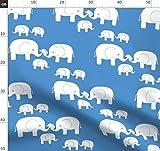 Elefant, Baby, Kinder, Blau, Süß, Familie, Familie Stoffe