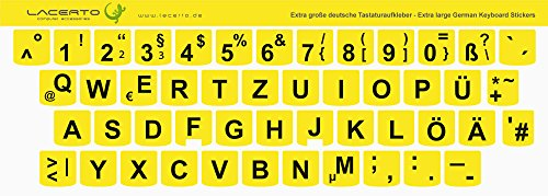 Lacerto® | Extra grote tekens, Duitse toetsenbordsticker voor slechtzienden en senioren, met mat beschermend laminaat für Lenovo geel