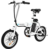 ANCHEER Folding Electric Commuter Bike, 16'' City Ebike with 8Ah Removable Lithium-Ion Battery Electric Bicycles (White)
