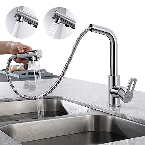 Homelody 360° Drehbar Wasserhahn Küche Ausziehbar mit 2 Strahlarten, Küchenarmatur mit Brause, Armatur Küche Hochdruck Mischbatterie, Einhebelmischer Spültischarmatur für Küche Messing Chrom