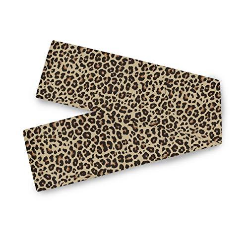 TropicalLife Camino de mesa rectangular F17 con estampado de leopardo, 33 x 228 cm, poliéster, mantel de mesa, decoración para boda, cocina, fiesta, banquete, comedor, hogar, mesa de café