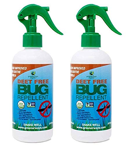 Greenerways Organic Natural Bug Spray, Insect Repellent, USDA Organic, Mosquito-Repellent, Bug Repellant, DEET-Free, Pest Control (12oz, 2 Pack)