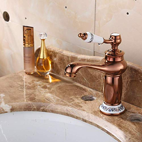 ZUQIEE Tap De gama alta de la Cuenca del grifo de oro rosa Jade caliente y frío del grifo de mezcla doble lavabo grifo Bastante