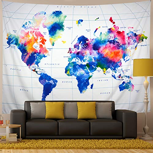 Generleo World Map Tapestry Wall Hanging Vintage Watercolor Colorful Tapestry Retro Hippie Tapestry for Bedroom Home Decor (X-Large, 8#map)
