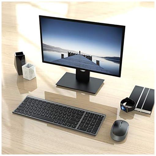Jelly Comb Teclado inalámbrico con Ratón - Mini teclado ultradelgado inalámbrico 2.4G y Ratón USB recargable para PC… 2