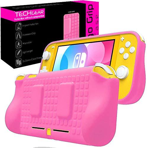 TECHGEAR Custodia Sottile Compatibile con Nintendo Switch Lite, Cover Protettiva Morbida da Utilizzare sulla Console con impugnature Imbottite Integrate [Leggere, Resistenti e Flessibili] - Rosa