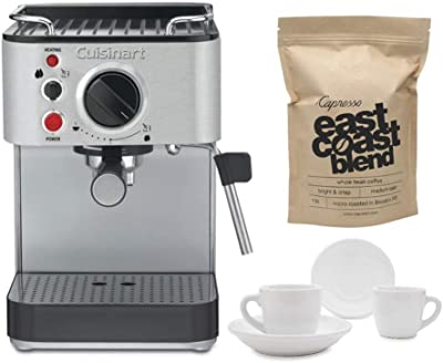 Cuisinart EM-100 Espresso Maker with 2 Cups, 2 Saucers, and Whole Bean Coffee (1-Pound) Bundle (4 Items)