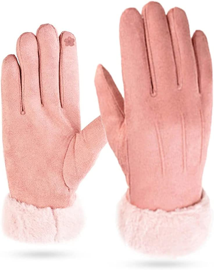 ADSVMEL Autumn Glove Touchscreen Glove Knit Warm Lined Fingers Stretch Thermal Short Gloves Warm Wool Knitted Thick Fleece Gloves for Women Bicycle Gloves Work Outdoor in Winter