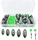 Lonkiktik Fishing Weights Sinkers, Drop Shot Weights Include Cylinder Weights and Cannonball Sinkers, Removable Split Shot Weight Bullet Weights for Bass Fishing Weights Assortment Kit