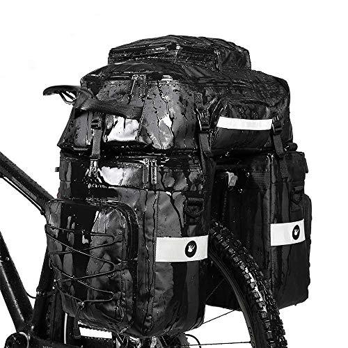 Rhinowalk Bike Bag Bike Pannier Bag Set,(for Bicycle Cargo Rack Saddle Bag Shoulder Bag Laptop Pannier Rack Bicycle Bag Professional Cycling Accessories 3 in 1-Black