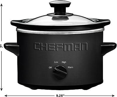 Chefman Slow Cooker,  Compact Personal Size for 2+ People, Fits 2 lb Roast, Removable Crock, Dishwasher Safe Stoneware & Lid, 1.5 Quart, Black