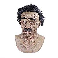 ハロウィンマスク大人怖いラテックス男性と女性気味の悪い老人マスク、リアルな人間のしわのおじいちゃん/おばあちゃんマスク、気味悪い巻き毛のゾンビコスチューム、仮装コスプレに使用