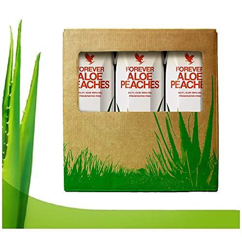 Forever living tripack 3x1 litro aloe vera gel sabor arándano manzana et melocotón pulpa 100% natural zumo puro para beber. (Aloe peach)