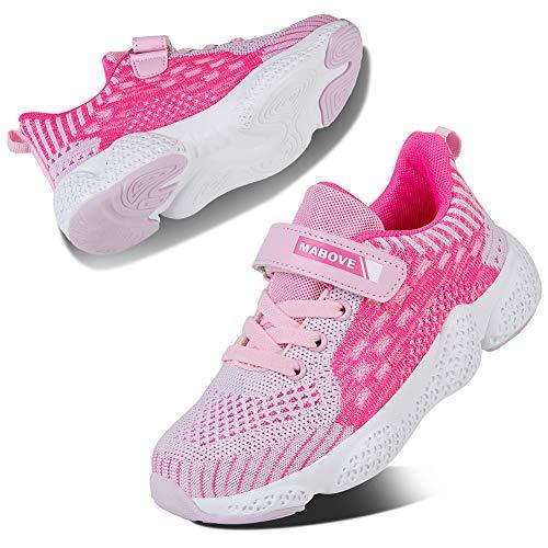 Kyopp Laufschuhe Kinder Turnschuhe für Mädchen Jungen Sportschuhe Kinderschuhe Outdoor Sneakers Klettverschluss Atmungsaktiv Unisex(1#Pink 31 EUd)