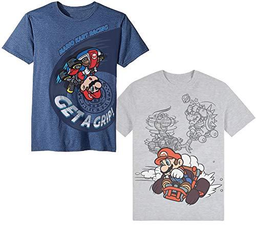 Nintendo Super Mario Kart Racing - Camiseta de manga corta para niños, 2 unidades, color azul y gris, Azul, Gris, 8