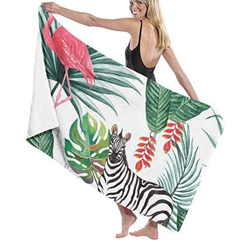 Microfibre Beach Towel Large Tropical Jungle Zebra Flamingo Animal Nature Palm Leaves Bird - 130x80cm Lightweight & Dry Microfibre Towel - Perfect as Beach Towel & Travel Towel