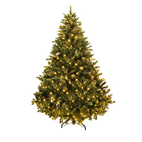 VEIKOU 5 ft Artificial Christmas Tree Premium Spruce Hinged Tree with LED Lights and Solid Metal Stand, UL-Certified Transformer (750 Branch Tips, 220 Lights)