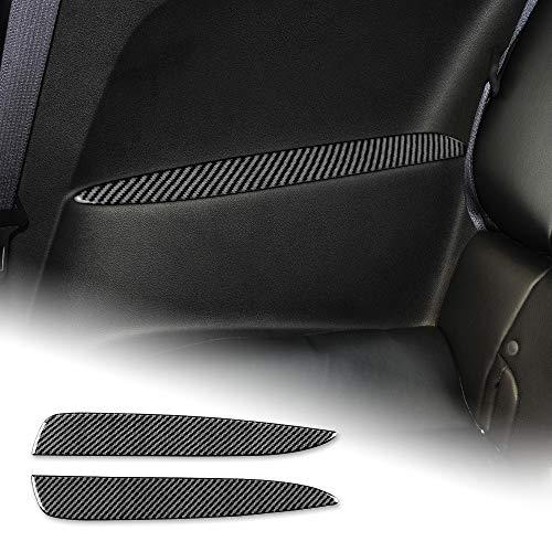 NEFELI Cubierta interior de fibra de carbono para reposabrazos de asiento trasero de coche, compatible con accesorios Chevrolet Camaro 2010-2015 (negro)