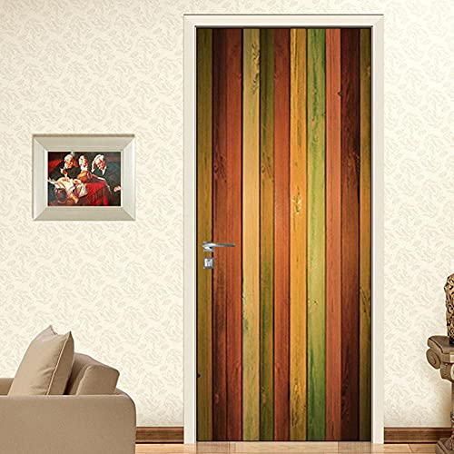 LBMT - Barra de puerta creativa, arco iris de madera, textura de madera, decoración de pared, M (44 x 200 cmx2 unidades)