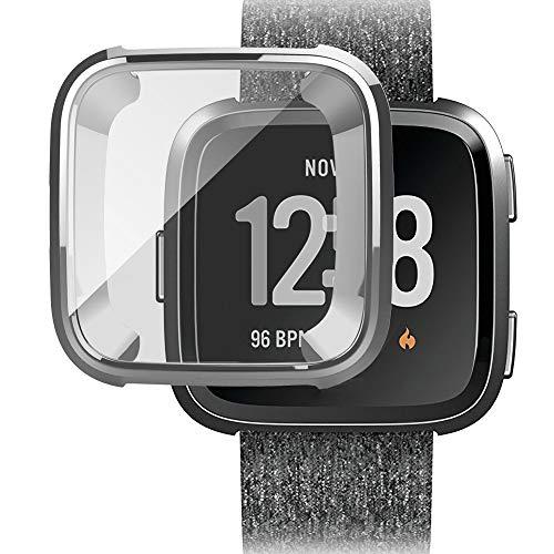 MMLC Fitbit Versa Hülle, Vollschutz Display Schutzhülle Zubehör Cover für Fitbit Versa Smartwatch (Silver)