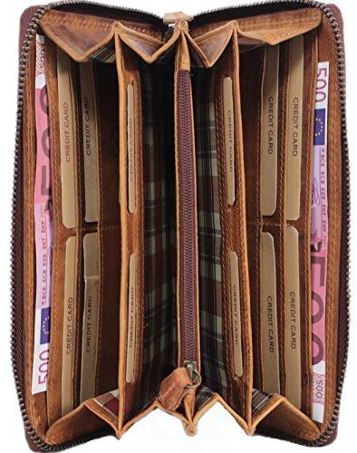 Große Damen Leder Geldbörse,Herren Portemonnaie RFID Schutz, langes Vintage Portmonee in Geschenkbox braun Corno d´Oro 2080