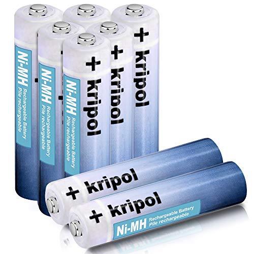 KRIPOL Pilas Recargables AAA NiMH 1000mAh bateria Recargable Alta Capacidad y Bajo Nivel de autodescarga 1.2V,8 Piezas