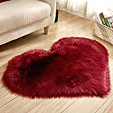 Heart Shape Mat Blanket Fluffy Imitation Wool Plush Rugs for Living Room Bedroom(Wine Red)