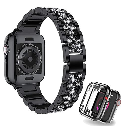 CHENPENG Compatible con Apple Watch Series 6/5/4/3/2/1 Correa Delgada de Metal con Diamantes de imitación y Diamantes Bandas de Acero Inoxidable Correa de Repuesto Comercial,Negro,38mm