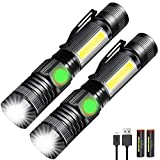 LED Flashlight, Rechargeable Waterproof Maglite Mini Small Black EDC Tactical Flashlights Gear High Lumens with COB Flash Light for Camping Police Emergency Car (2 Pack)