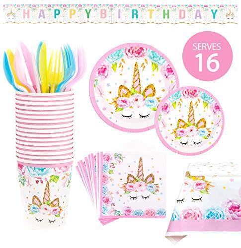 BleuZoo Suministros para fiesta de unicornio, juego de decoración de cumpleaños para niñas, paquete de vajilla temática, incluye:...
