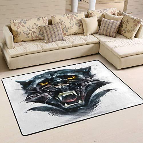 N/A gebied tapijt schets zwart panter dier moderne deurmat wasbaar tapijt rechthoek mat voor slaapkamer woonkamer 60x39in