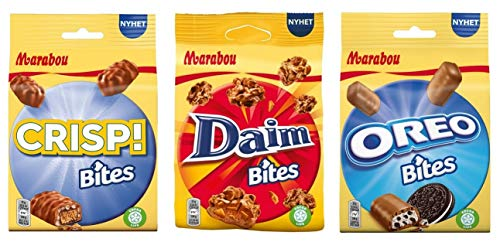 Probierset Marabou - Crisp, Daim, Oreo Bites Schokolade Mini-Riegel - 3er Pack, (3x140g)