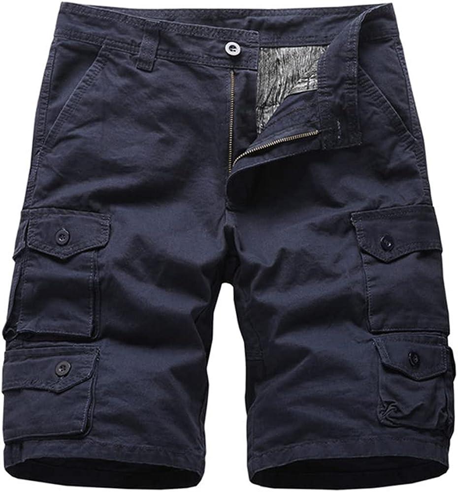 NP Men's Beach Pants Cotton Casual Shorts Overalls Multi-Pocket
