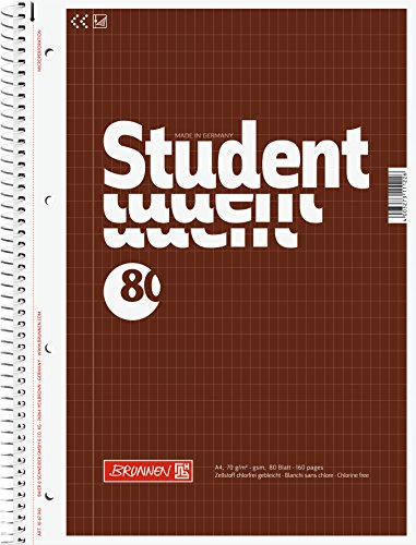 5x Brunnen Collegeblock Student 80 Blatt rautiert 5x9mm Lineatur 23