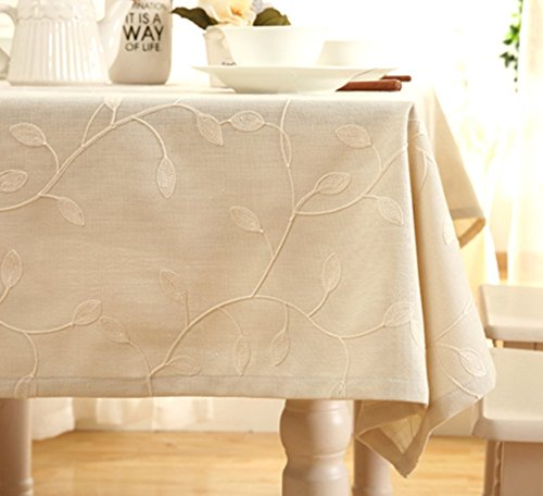 "Tina Cotton Linen Tablecloth Leaf Embroidered Table Cover for Dinner Kitchen Beige, 60""x90"""