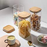 G2J Brothers® 3 Piece Square Airtight Clear Glass Jar Set, Storage Canister With Wood Lid Clear Food Storage For Candy, Cookie, Rice, Sugar, Flour, Pasta, Nuts (1500 Ml)
