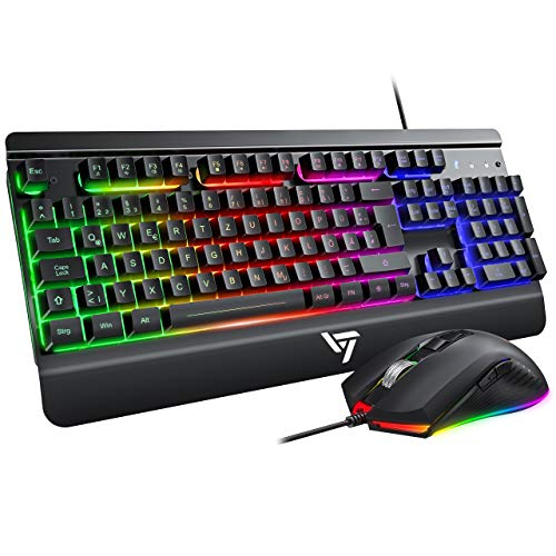 VicTsing Gaming Tastatur Set mit Maus, Maus Tastatur Set led beleuchtete Regenbogen Metallpaneel, 19 Tasten Anti-Ghosting, wasserdicht Keyboard, ideal für Gaming und Büro, DE Layout Schwarz