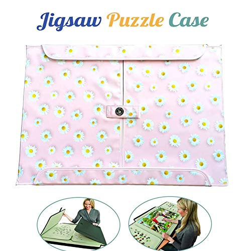 HZW Jigsaw Puzzle Case Puzzle Board, Puzzle Play mat 1000 Piece Puzzle Caddy Portable Puzzle Storage Case, Best Gift for Puzzle Lovers and Adult, Daisy Pattern Non-Slip Surface 79x54cm/31x21 inch,A