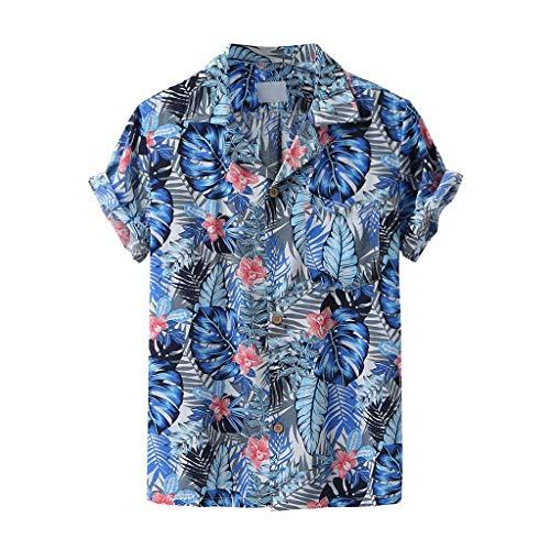 Xniral Herren Strandshirt Gedruckte Turn-Down-Kragen-Kurzarm-Freizeithemden Hawaii-Still Übergröße Knopf Runter Männer Sommershirt(g-Blau,XL)