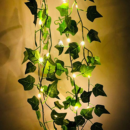 LED Artificial Vine Leaves, 200CM Artificial Vine Leaves Artificial Ivy Hanging Plants Decor with 20 LEDs Party Light for Home Party Wedding Decor