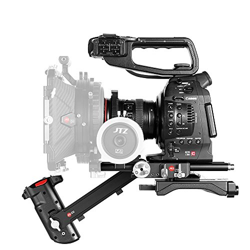 JTZ DP30 Camera Base Plate + Electronic Hand Grip Top Handle +Shoulder Rig for Canon EOS C100 C300 C500 Mark II (Focus,zoom,REC start/stop,IRIS)