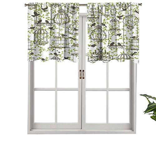 Hiiiman Blackout Short Curtain Panels Rod Pocket Antique Lovely Birdcages on Ivy Leaf Love Couple Escape, Set of 1, 54'x18' Small Half Window Valances for Bedroom
