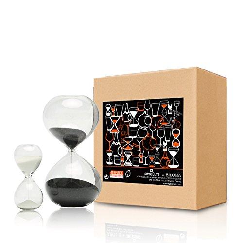 BILOBA, Set di 2 clessidre a Sabbia in Vetro per calcolare Il Tempo, 30 Minuti (o 60 Minuti) e 5 Minuti, Black/White, 5.6 inch,30 Mins(+/-180S) 3.2 inch,5 Mins(+/-30S)