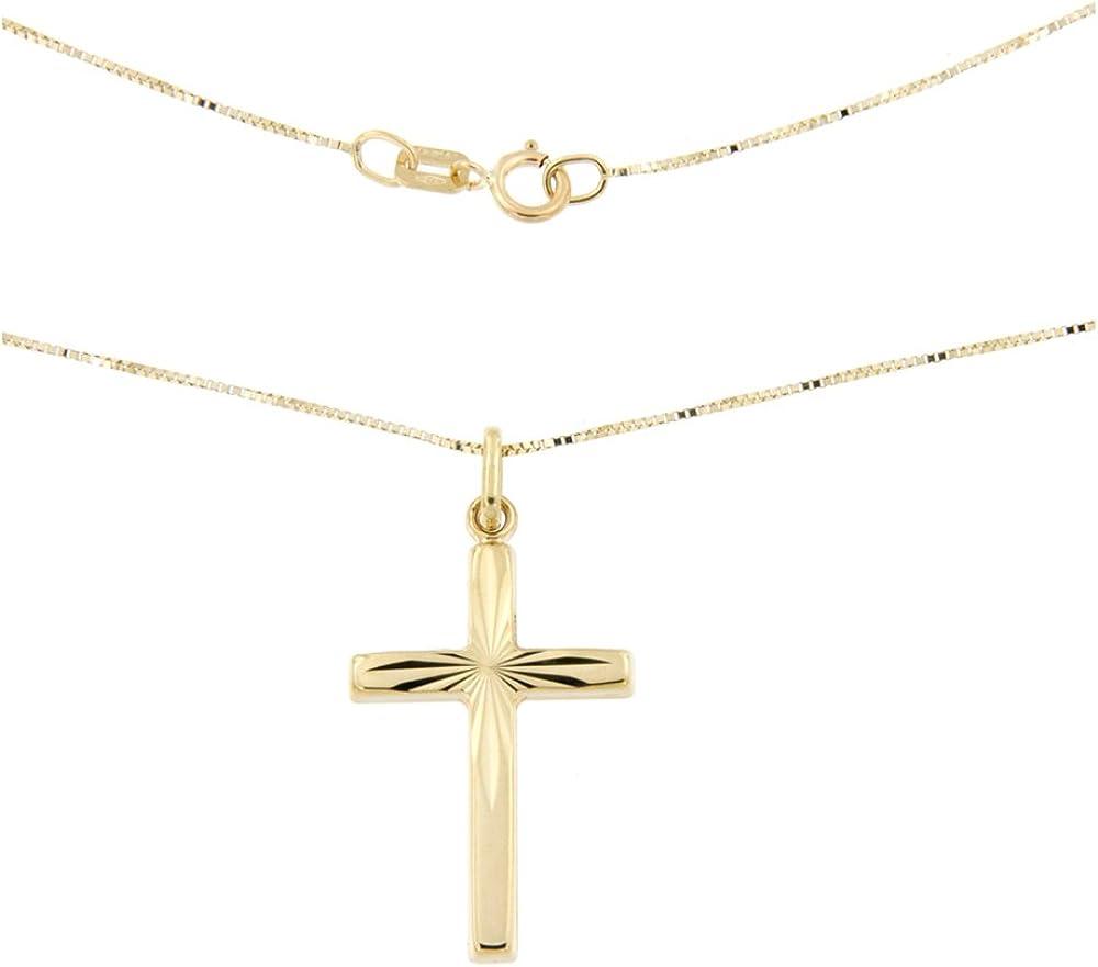 Lucchetta collana in oro giallo 9 ct (1.35 grammi) con pendente croce diamantata 2C0421MLA
