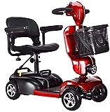 WXDP Autopropulsado Patinete eléctrico de Movilidad Ligero y Plegable, Patinete de Movilidad eléctrico Rojo de 3 Ruedas con Paquete de Accesorios adicionales, Funda imper