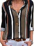 BLENCOT Camicetta Donna Elegante Camicia Donna Blusa Top Sexy Scollo a V Camicia Donna Casual Manica Lunga, Nero, XL