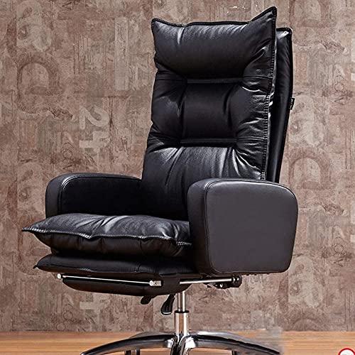 SACKDERTY Chair Boss Chair Couro para jogos, Cadeira reclinável para computador, Cadeira de Couro para escritório em casa Cadeira para escritório em casa (Cor: Preto)