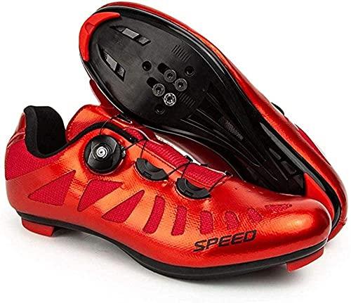 CHUIKUAJ Zapatillas de Ciclismo Hombre Mujer Bicicleta de Carretera Entrenamiento Deportivo Pedales Automáticos Zapatillas de Bicicleta Tacos Compatibles SPD/SPD-SL Delta,Red-37EU