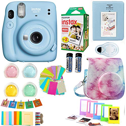 Fujifilm Instax Mini 11 Blue Camera + Fuji Instant Instax Film (20 Sheets) Includes Colorful Case + Assorted Frames + Photo Album + 4 Color Filters and More Accessories Bundle
